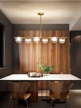 Lámpara LED de estilo moderno para restaurante candelabro de cristal con forma de bola, luces colgantes para bar, decoración nórdica para comedor, luminarias en suspensión