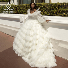 Fairy Appliques Ball Gown Wedding Dress Swanskirt PZ30 2 In 1 Sleeve Ruched Tulle Beaded Princess Bridal Gown Vestido de novia