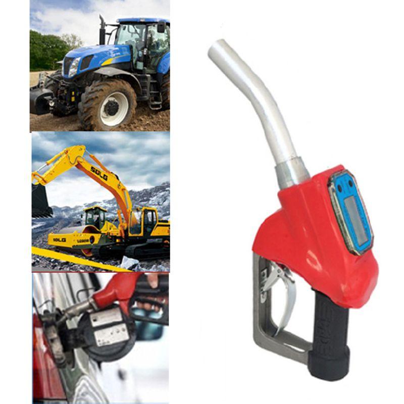 OOTDTY Digital Fuel Gun Flow Meter Diesel GasolineTransfer Automatic Trip Gas Stations Red