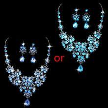 цена на Alloy Rhinestone Earrings Pendant Necklace Bridal Set