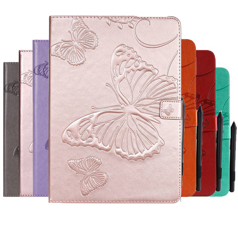 Emboss Butterfly PU Leather Case for Samsung Tab A 10.1 2019 SM-T510 SM-T515 T510 T515 Cover With Card Slot Tablet case+Gift image