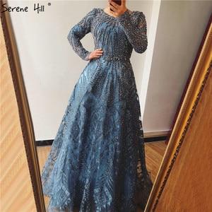 Image 2 - Dubai Luxury Long Sleeves Evening Dresses 2020 Navy Blue O Neck Crystal Formal Dress Design Serene Hill Plus Size LA60900