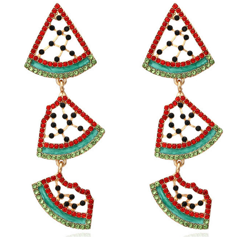 Lovely Rhinestone Watermelon Pendant Earrings for Woman Party 2020 New Personality Temperament Fruit Earrings