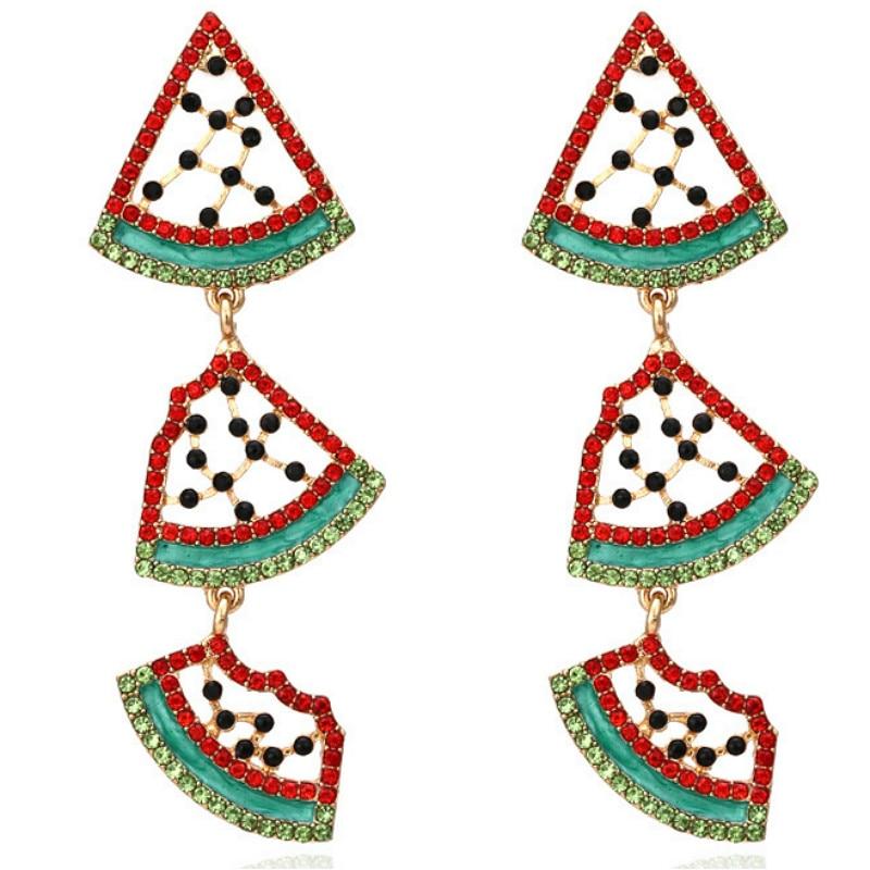 Lovely Rhinestone Watermelon Pendant Earrings for Woman Party 2020 New Personality Temperament Fruit Earrings