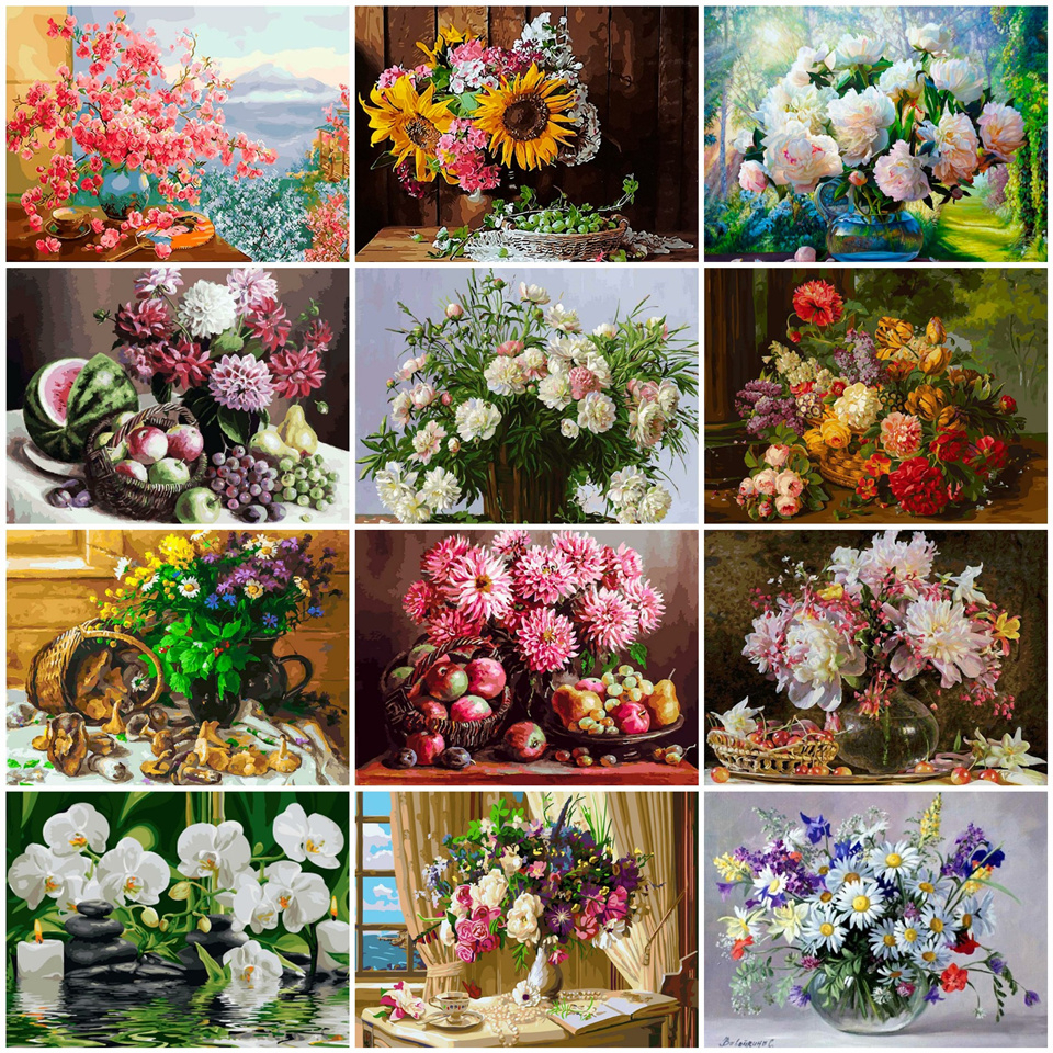 AZQSD DIY Unframed Oil Painting By Numbers Flowers Pictures Canvas European Style Painting For Adults Living Room Home Decor