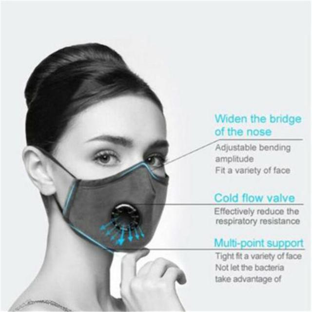 PM2.5 Mouth Mask Anti Haze Dust Mask Nose Filter Windproof Face Muffle Bacteria Flu Fabric Cloth Respirator With valve filters 2