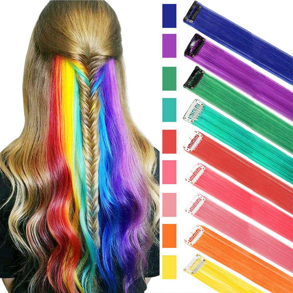 LM extensiones de cabello postizo Arco Iris largas rectas Clip en pelo de raya de pelo sintético Rosa pieza hebras en Clips