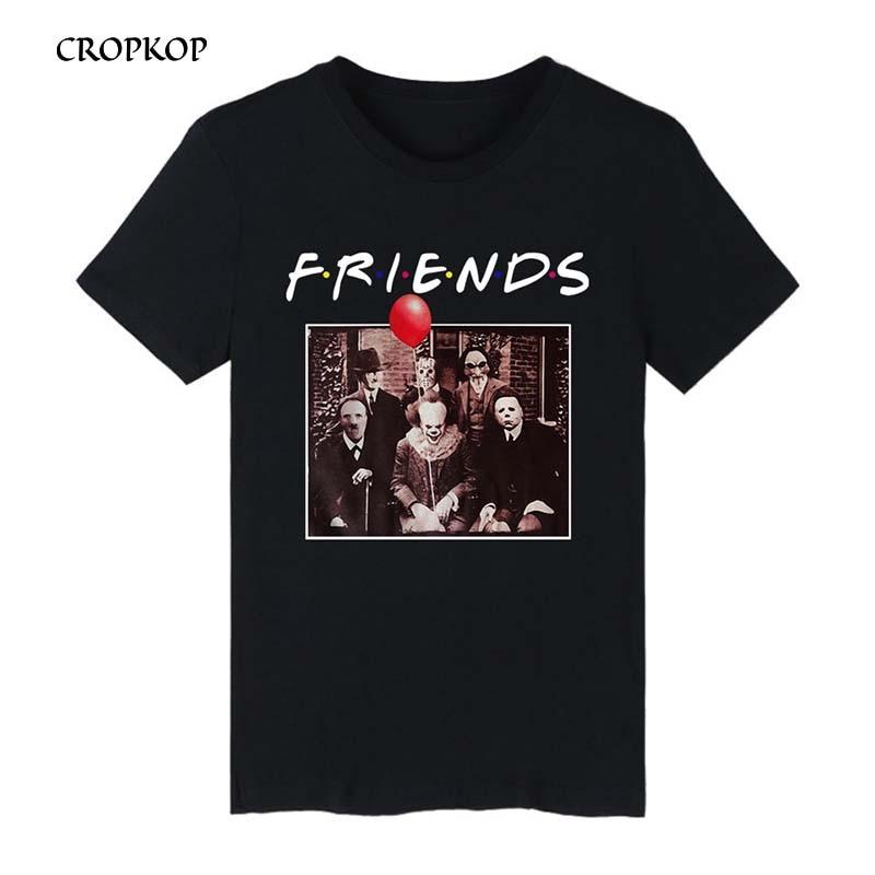 Horror Friends Tshirt Pennywise Michael Myers Jason Voorhees Halloween Men T-Shirt Cotton Matching T-shirt Streetwear Camiseta