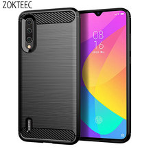 ZOKTEEC High quality luxury Silicone Case For Xiaomi CC9 ShockProof Fitted Carbon Fiber Soft TPU Phone Cover