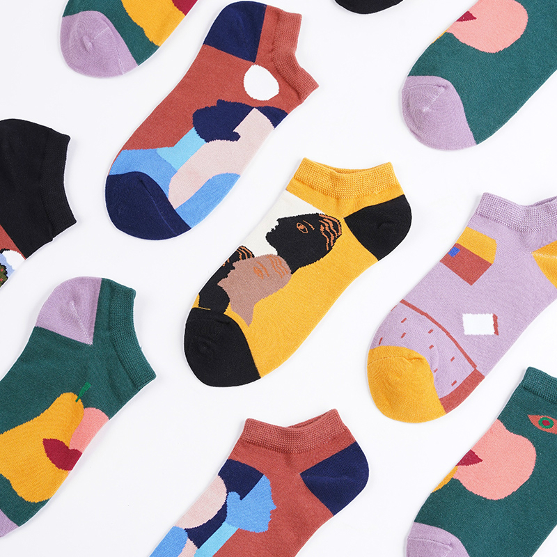 Socks Men And Women Fashion Low-Cut Short Socks French Comfortable Literature And Art Abstract Geometry-Style Street Socks