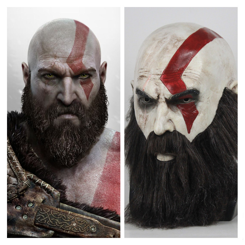 Spiel God Of War 4 Kratos <font><b>Maske</b></font> Mit Bart Horror Latex Masken Realistische Kopfbedeckungen Cosplay Helm Halloween Party Karneval Requisiten image