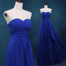 vestidos royal blue Chiffon Formal Gown Free Shipping Floor-Length sweetheart long 2018 real photos pleat bridesmaid dresses