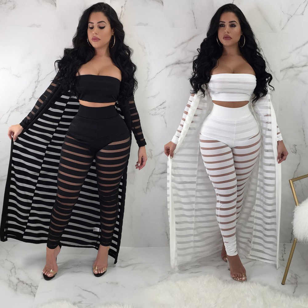 Wendywu Hot Sexy Women's 3 piece Set 2019 Summer Sleeveless Strapless Waistcoat Top + Sexy Slimp Full Length Pants+Striped Cloak