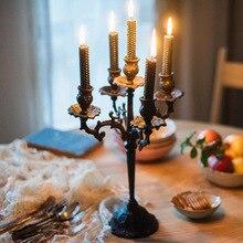Candelabro de hierro fundido de estilo americano para decoración de mesa, candelabro de día para amantes, accesorios para cena, lámpara romántica Vintag