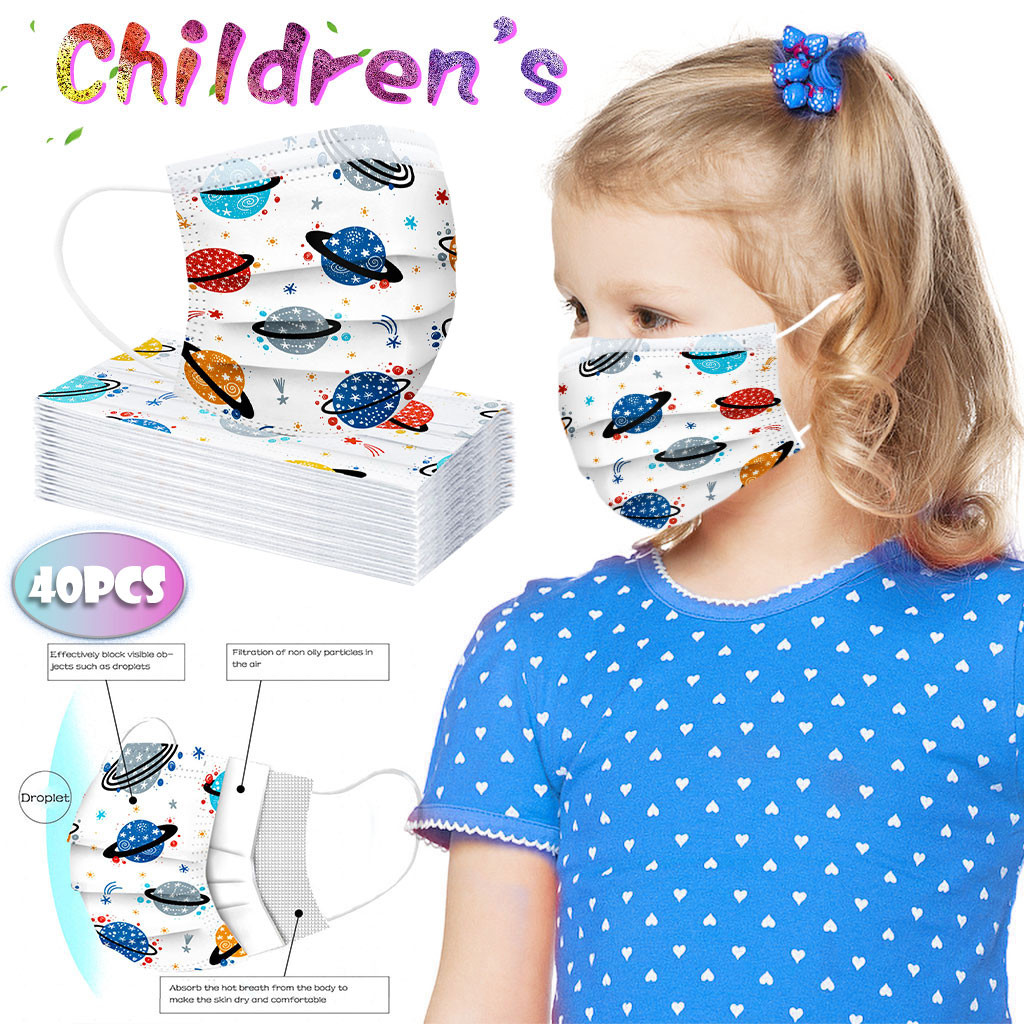40pcs-lot-children-mask-one-time-face-cover-planet-print-mask-industrial-3ply-ear-loop-for-outdoor-sports-mascarilas