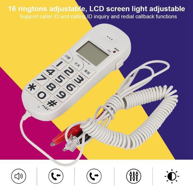 FSK/DTMF téléphone fixe avec identification dappel pour domicile bureau, téléphone filaire blanc