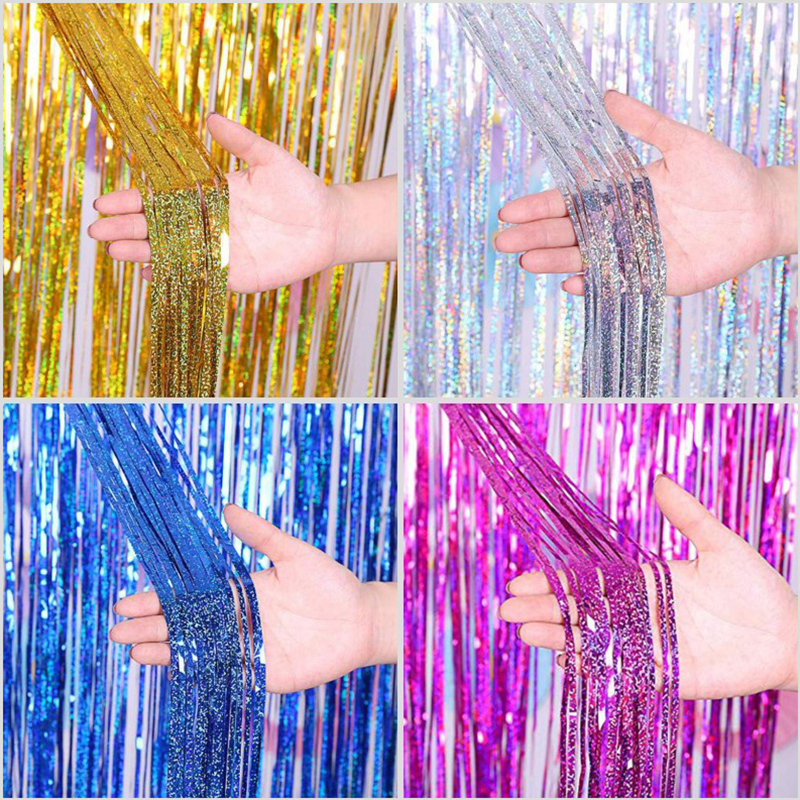 2M Foil Tinsel Fringe Curtain Backdrop Graduation 2019 Party Decoration Babyshower Boy Girl Just Married 30th 40th 50th Birthday
