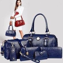 6 piezas conjunto de bolsos de mano de mujer de charol 2019 de lujo de marca de bandolera para mujer bolso bandolera bolso de mano de mujer bolso