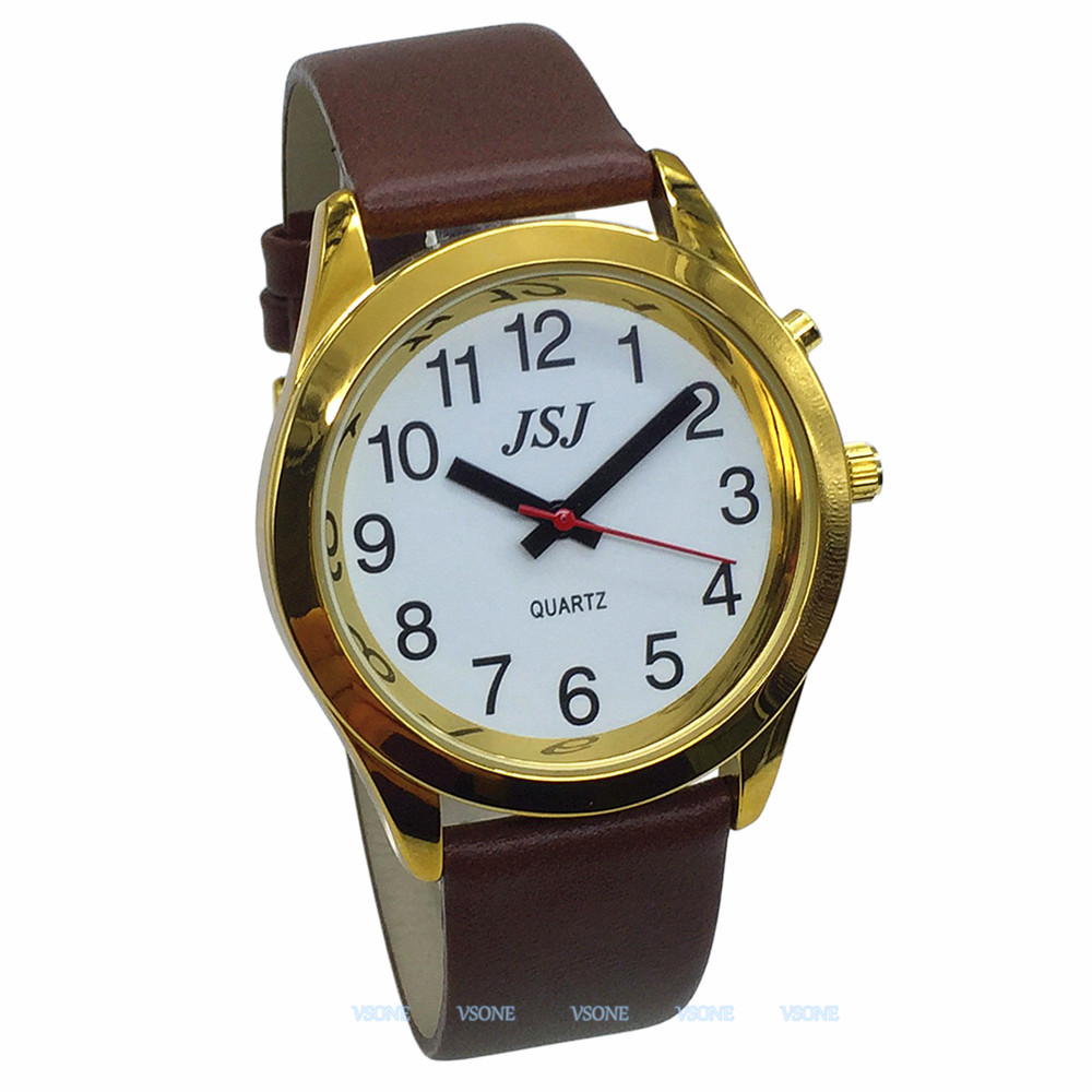English Talking Watch With Alarm Function, Talking Date And Time, White Dial, Brown Leather Band, Golden Case TAG-706