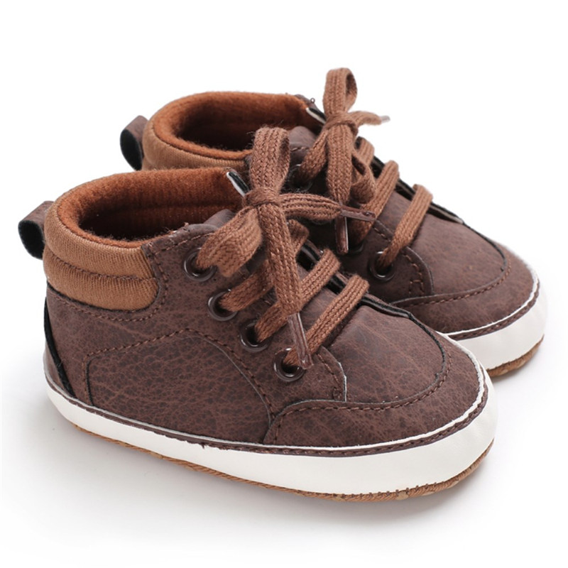 Newest Baby Boys Shoes Cotton Brown Black Gray Infant Baby Shoes First Walkers Anti-Slip Sports Sneaker Toddler Baby Prewalker