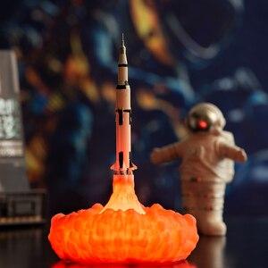 Image 1 - 2019 Nieuwste Dropship 3D Print Saturn V Lampen Oplaadbare Nachtlampje Apollo 5 Voor Maan Land Ruimte Lover Als Kamer decoratie
