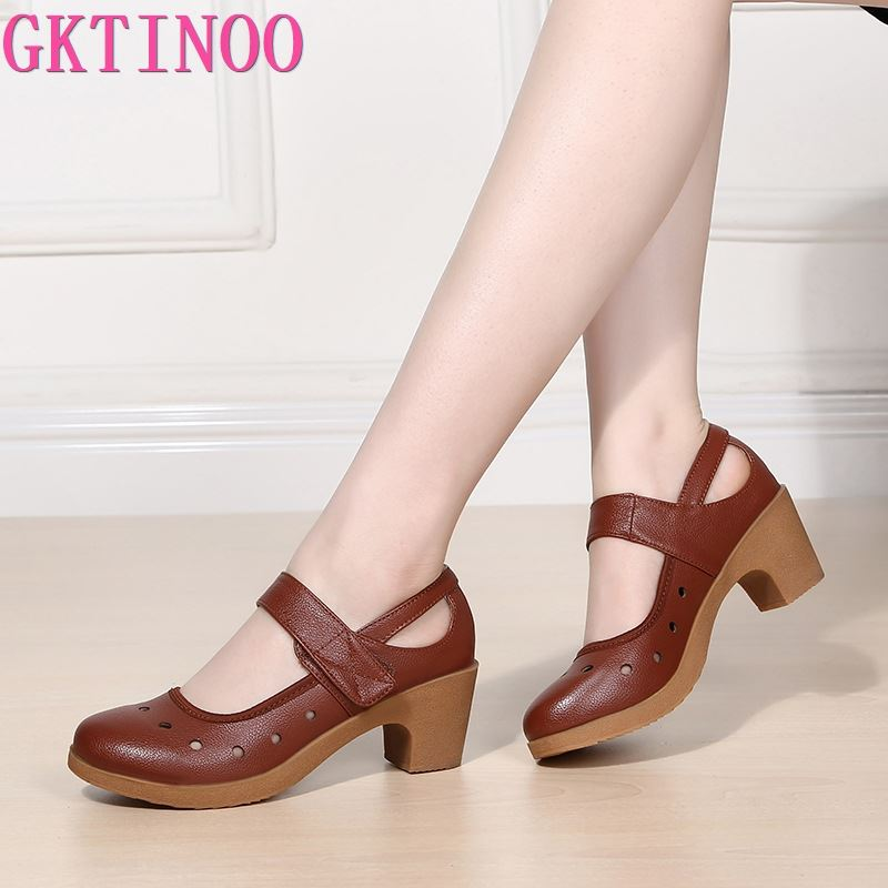 GKTINOO 2021 Cut Out Women Pumps Breathable Women Shoes Hook&Loop Thick High Heels Soft Mary Janes Dancing Shoes Leather