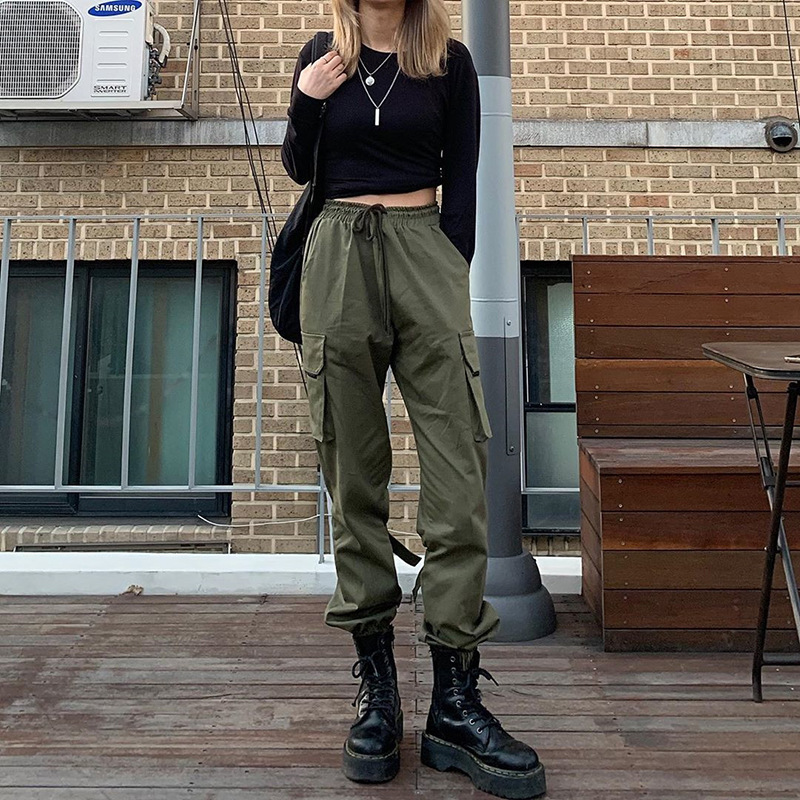 Women High Waist Military Cargo Pants Korean Harajuku Jogger Trousers Hipster Harem Hip Hop Baggy Satin Sweatpants Streetwear