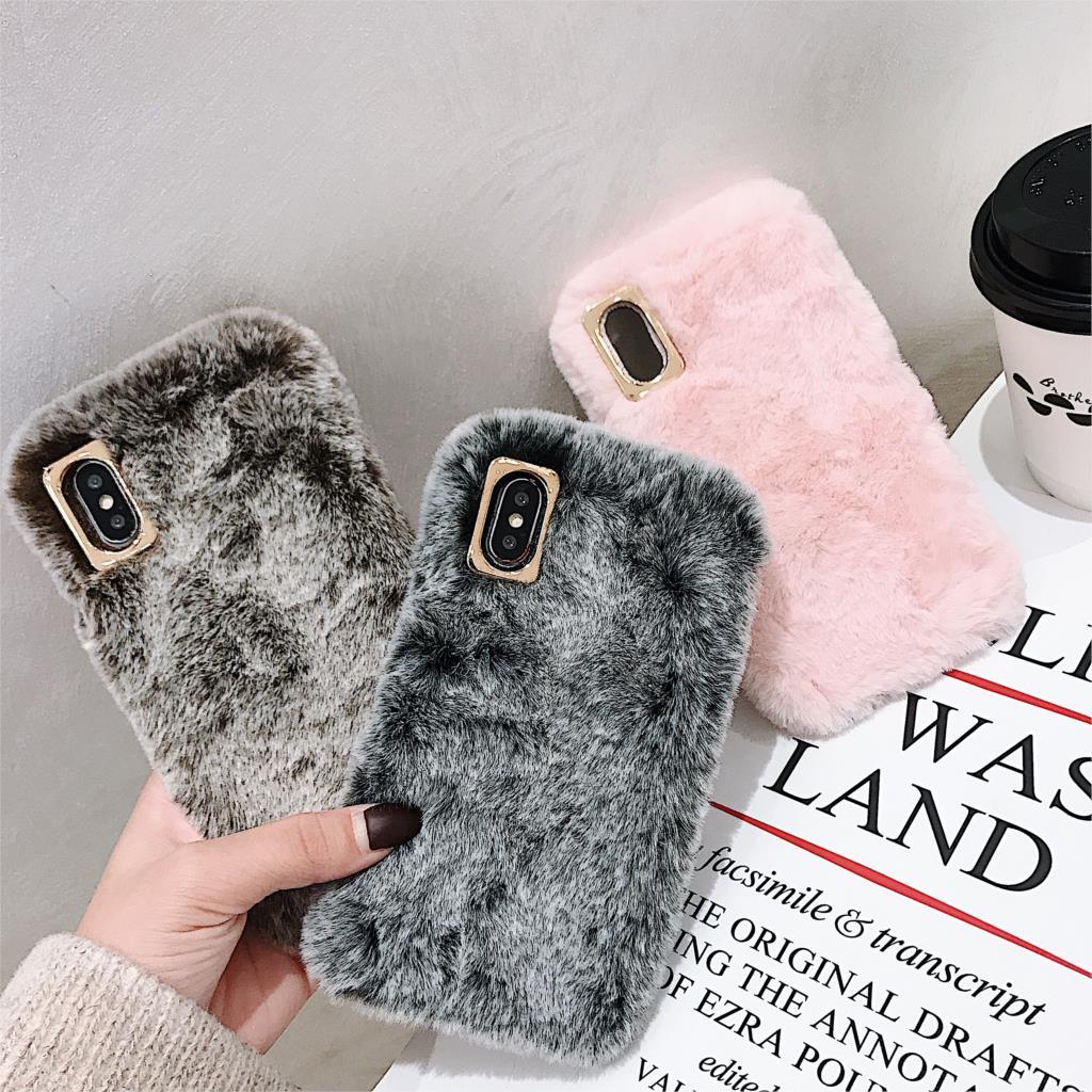 Bunny Fur Case For Moto E6 G6 Plus G7 Play Power E5 G5S G4 Play E4 Plus C Plus Fluffy Soft Fur Plush Cover
