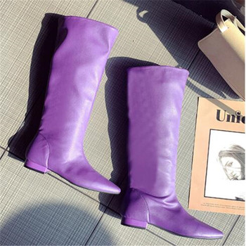 Shoes Women Pointy Toe PU Leather Knee High Boots Low Heels Spring Autumn Fashion Long Boots Flats Knight Boots Black Orange moraima snc spring autumn fashion women riding boots over the knee flat with fringe strap buckle decoration round toe long boots