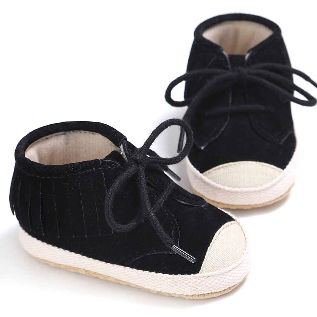 Newborn Baby Toddler Shoes Fashion Laces Tassel Soft Sole First Walker Girl Boy Kids Non Slipping Canvas Shoes 100% Brand New