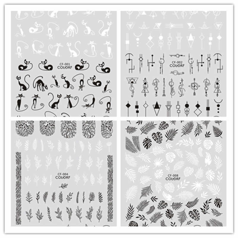 Hitam Putih 3D Nail Art Stiker Slider Bunga Daun Geometri Perekat Nail Art Stiker Dekorasi DIY Desain Aksesoris