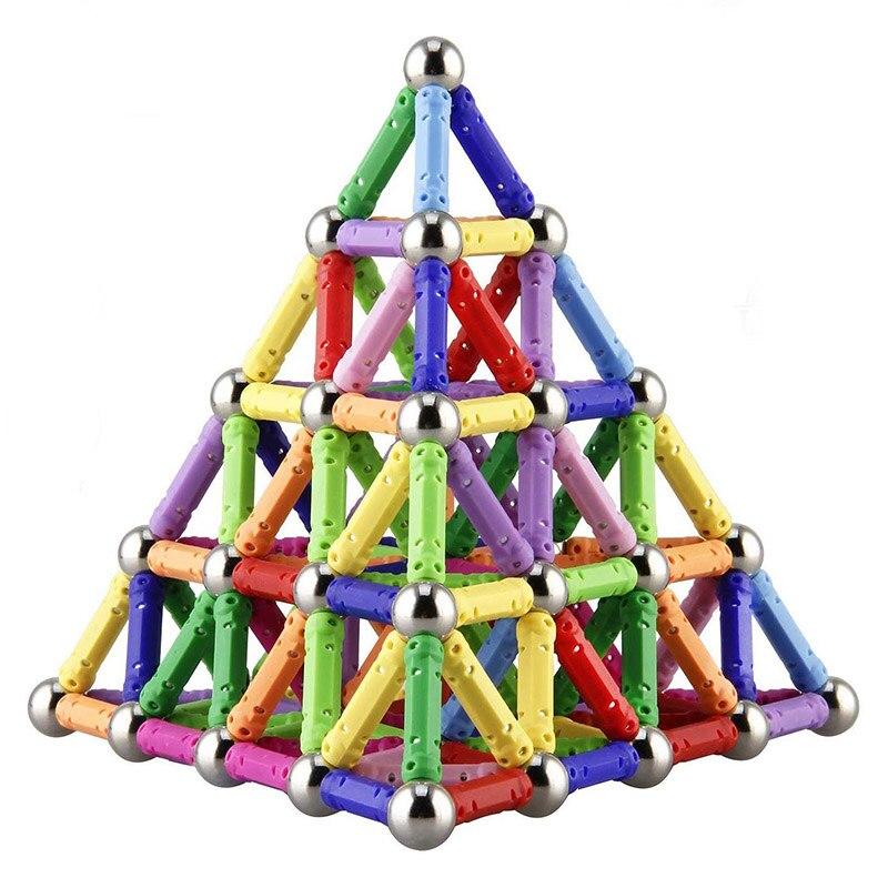 Magnetic Building Blocks 25~250pcs Magnet Bars Metal Ball Toys For Children Designer Educational Funny Toys Gift