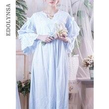 Victoria gecelikler Sleepshirts Vintage pijama kadın kıyafeti uzun kollu yüksek bel kuşaklı gece Maxi elbise artı boyutu T282