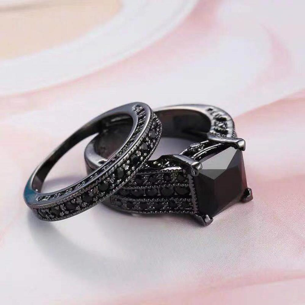 Anillo de circón cuadrado negro grande Vintage conjunto anillo de compromiso de titanio anillo de boda de pareja joyería para mujeres 2 unids/set anillos hombre ancho