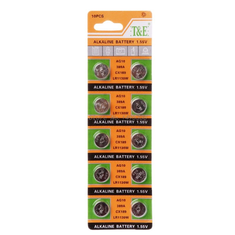 10PCS Button Coin Cell Battery AG10 1.5V Watch Batteries SR54 389 189 LR1130 SR1130 Toys Control Remote Drop Ship