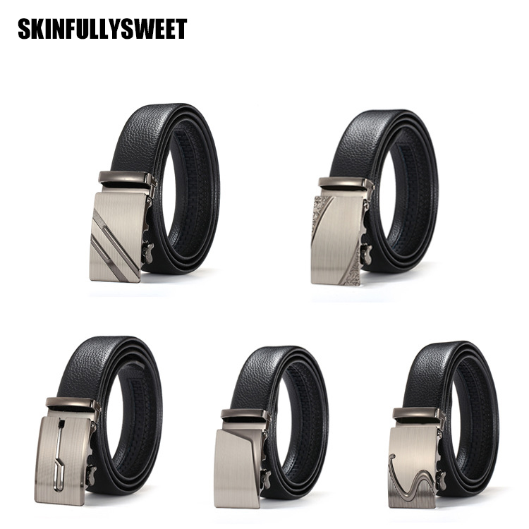 business mens leather belt Trousers belt mens automatic buckle leather belt