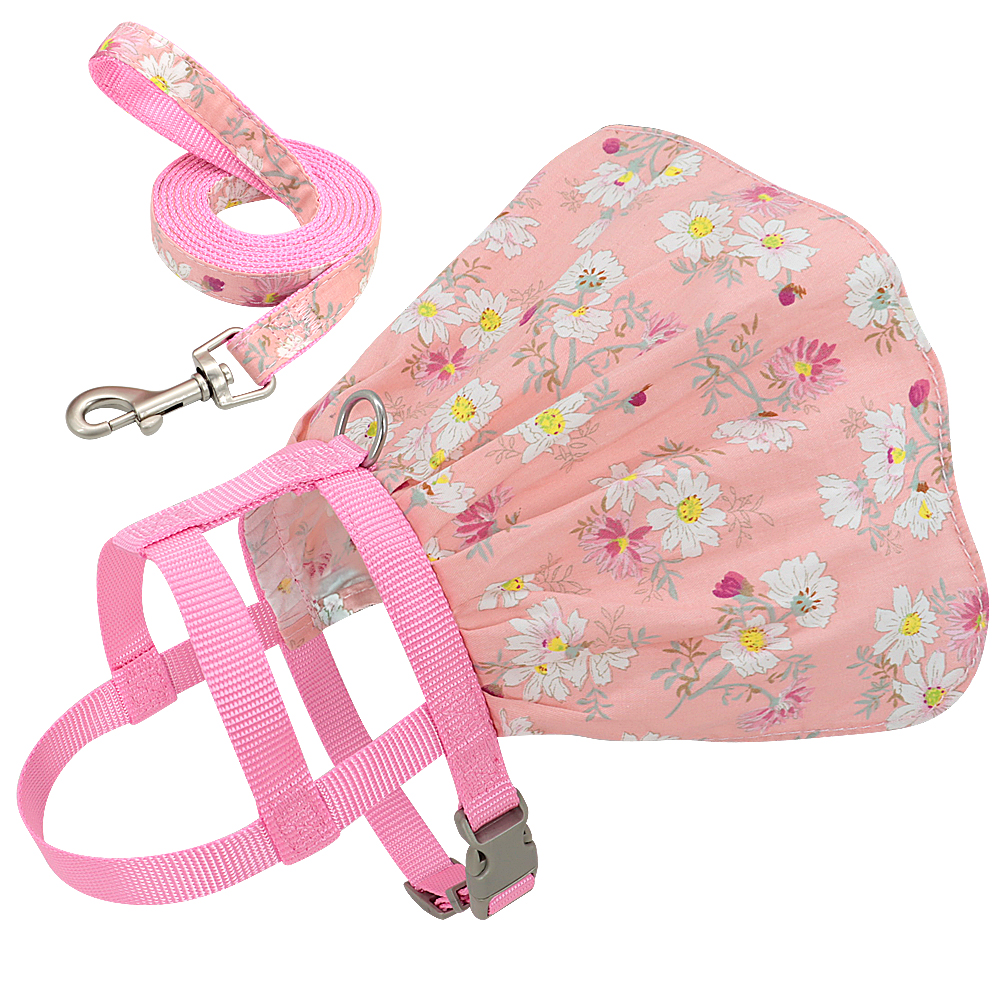 Small Puppy Dog Cat Clothes Harness Leash Adjustable Floral Printed Pet Harness Vest Dress For Small Medium Dogs Cats Chihuahua 9