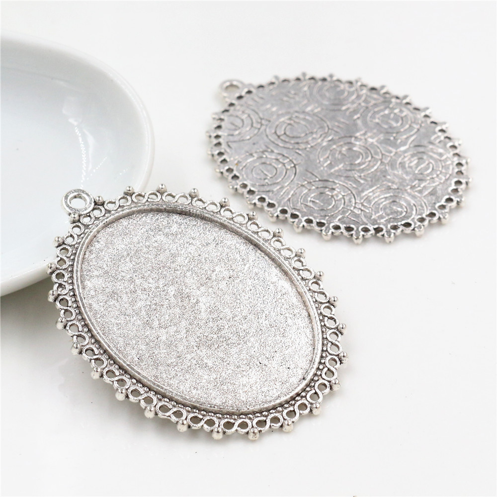 5pcs 30x40mm Inner Size Antique Silver  Pierced Style Cabochon Base Setting Charms Pendant (B3-52)