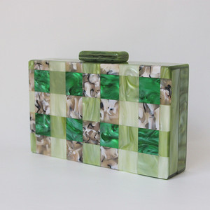 Image 2 - Brand Fashion Designer Women New Acrylic Green Beige Patchwork Evening Bag Luxury Party Handbag Woman Casual Box Clutch Purse