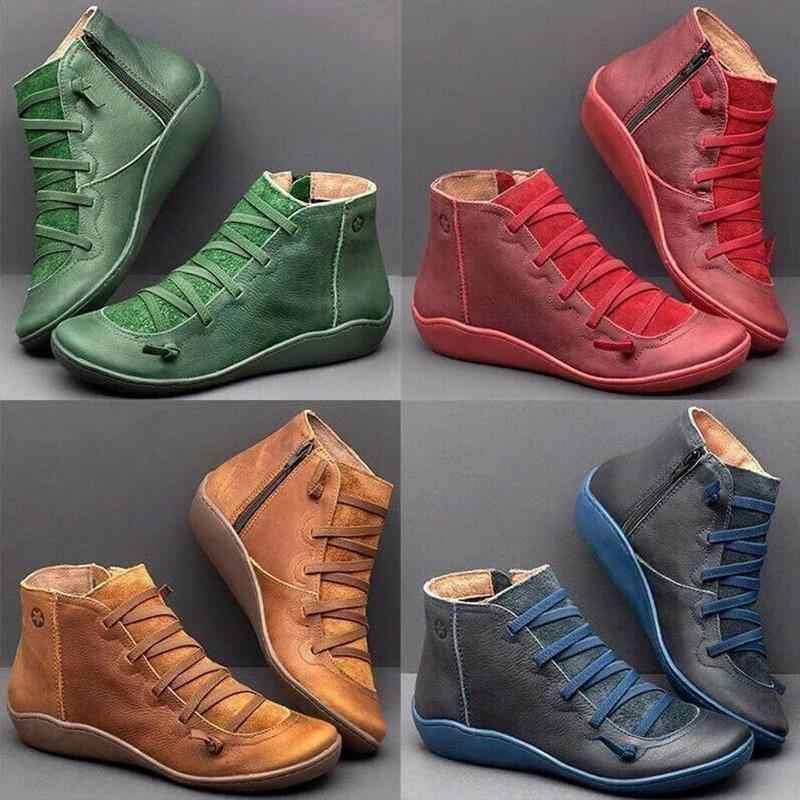 PU deri yarım çizmeler Vintage Lace Up kadın ayakkabısı klasik fermuar kısa çizmeler kadınlar için rahat düz topuk çizmeler