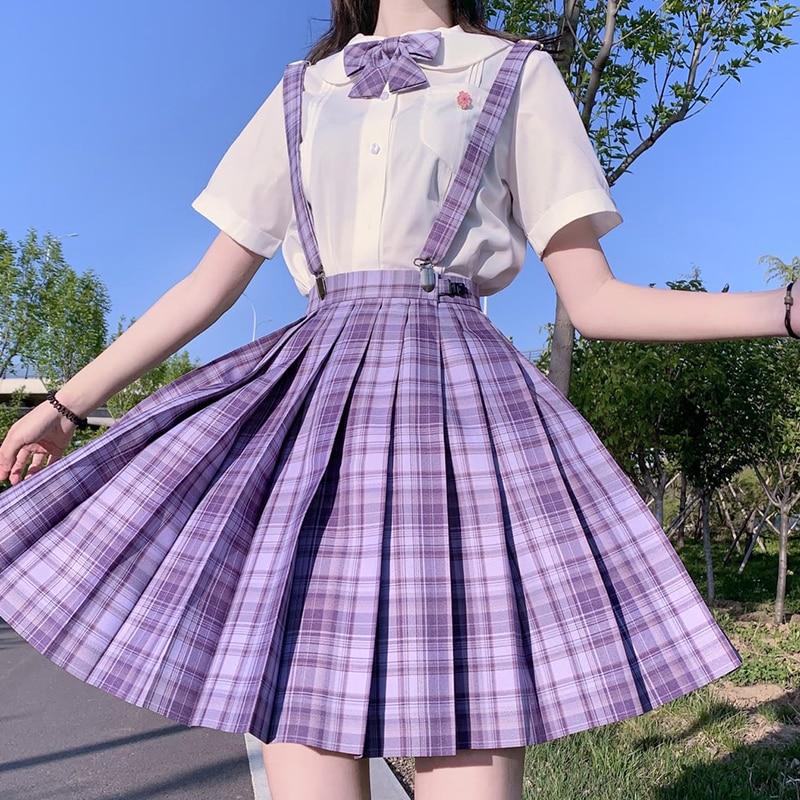 [Grape Soda] Girl's Summer High Waist Pleated Skirts Purple Plaid Skirts Women JK Uniforms Girl School Dress Student Cloths