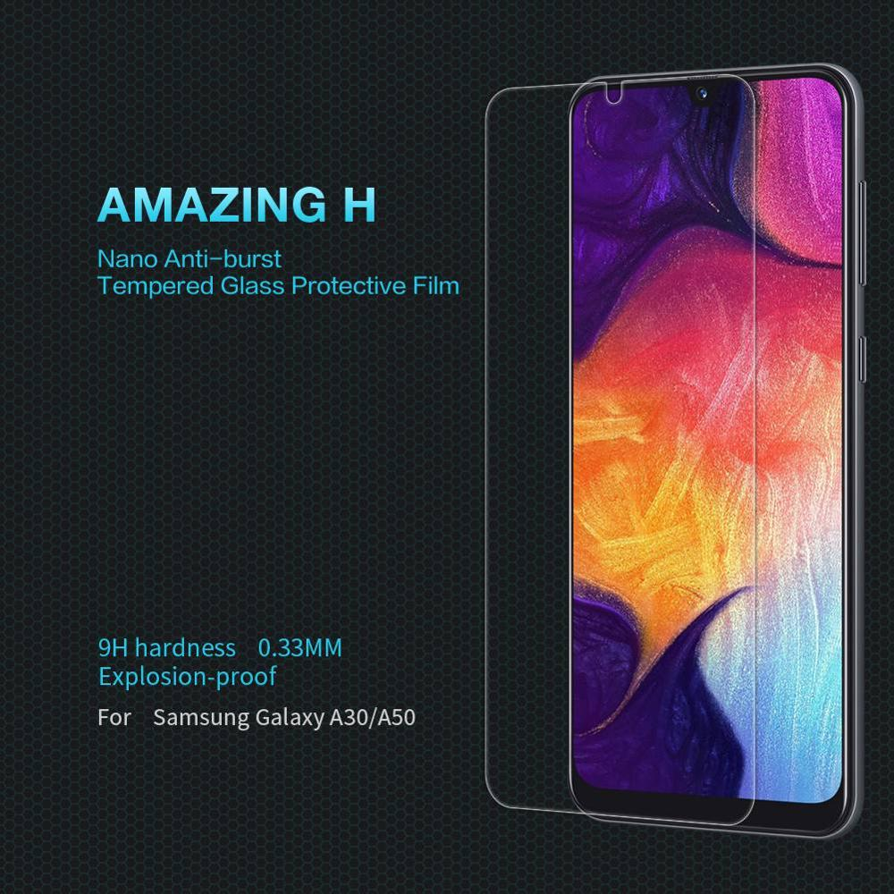 Protecteur d'écran en verre pour Samsung A50 / Samsung A30, film protecteur d'écran en verre trempé Nillkin Original