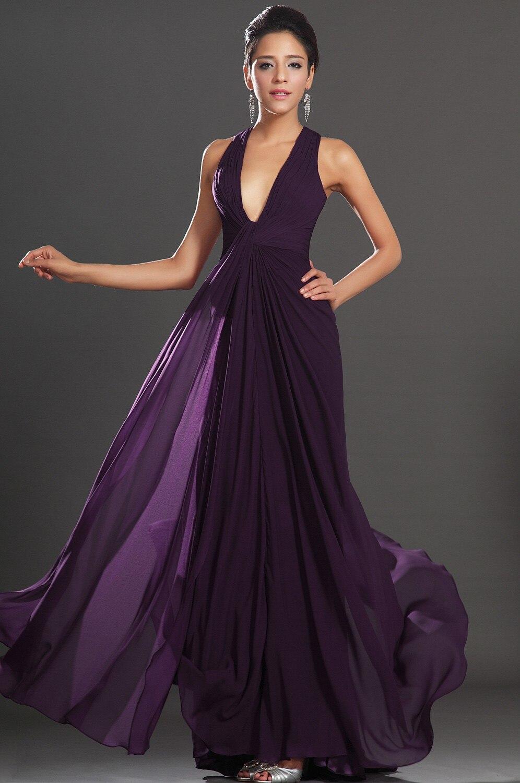 Sexy Deep V Neck Long New Purple Halter Court Train Chiffon Princess With Pleating Formal Robe De Soiree Bridesmaid Dresses