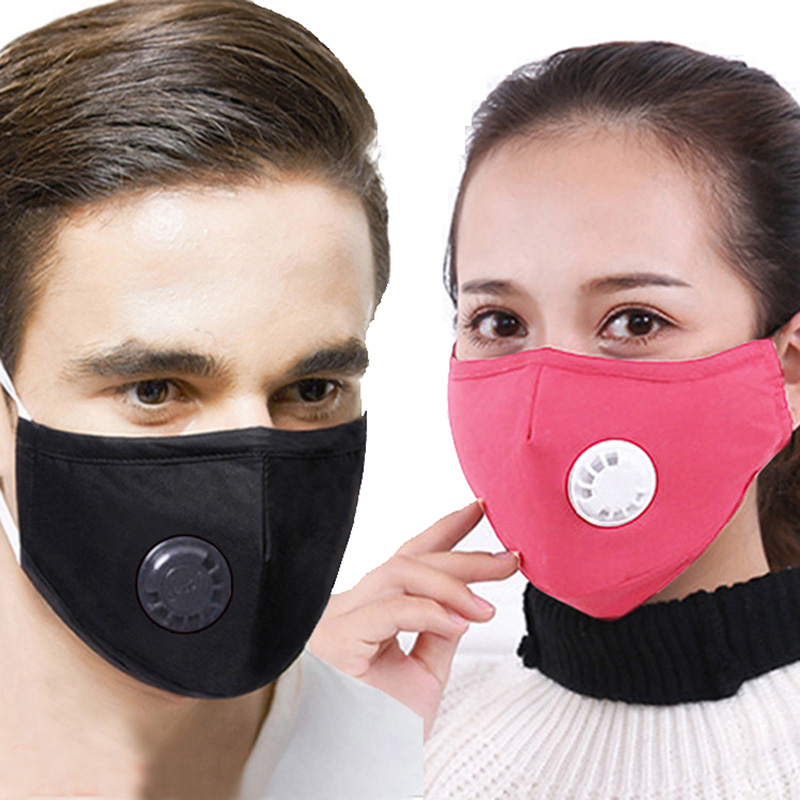 Cotton PM2.5 Dust Free Face Mask Valves Reusable Active Carbon Filter Windproof Bacteria Virus Proof Flu Facial Masks