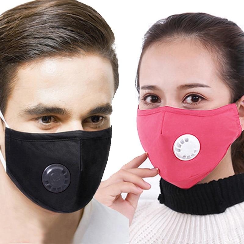 Cotton PM2.5 Dust Free Face Mask Valves Reusable Active Carbon Filter Windproof Bacteria Virus Proof Flu Facial Masks