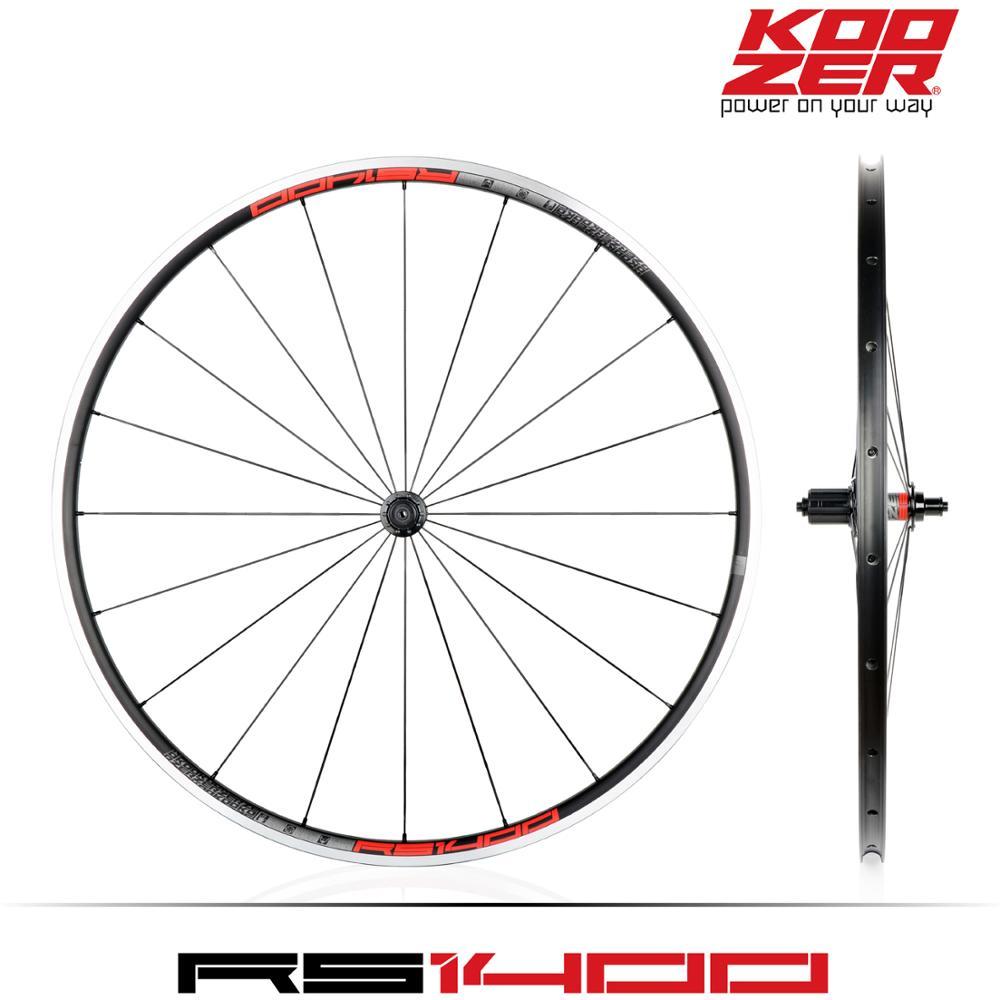 KOOZER RS1400 Road Bike 700C Wheelset Front 2 Rear 4 Bearing 4 claws 48T 21MM Rim Flat spoke Wheels Ultra light 1480g climbing(China)