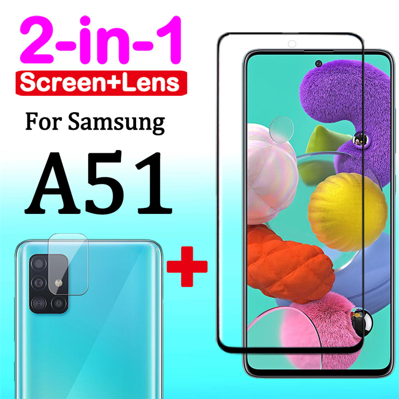 2 In 1 Protective Glass For Samsung Galaxy A51 A 51 51a Samsun Glaxy Samsunga51 Galaxya51 With Camera Cam Lens Armor Film 3d