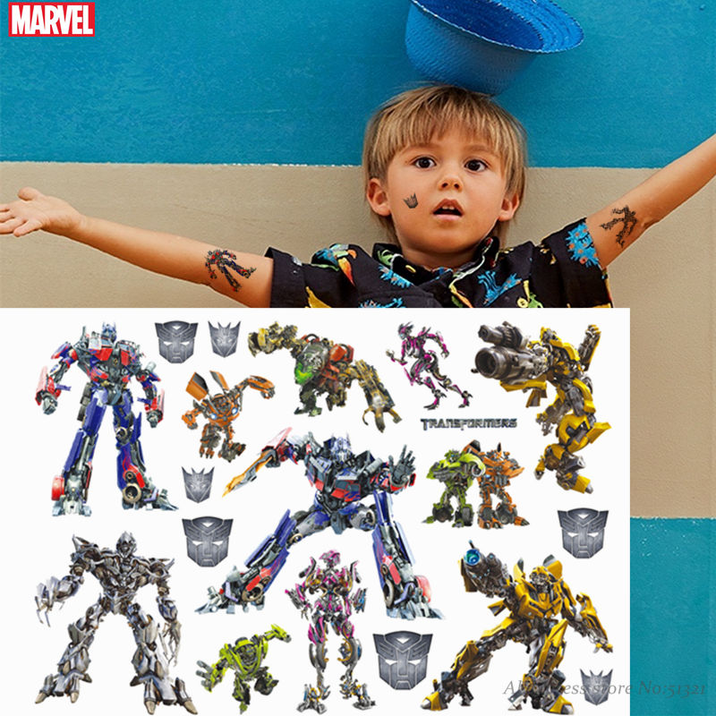 Hasbro Transformers Spiderman The Avengers Children Cartoon Temporary Tattoo Sticker For Boys Cartoon Toys Waterproof Kids Gift