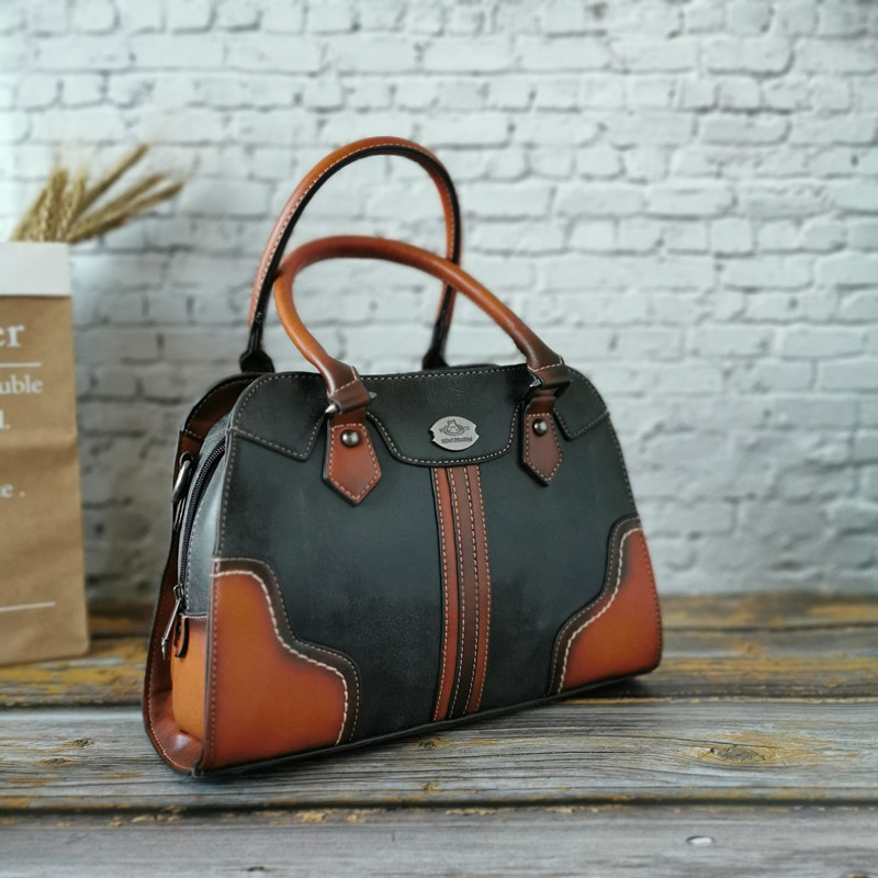 Image 3 - Genuine Leather Vintage Women Bags Luxury Handbags Tote High  Quality Designer Crossbody Bags for Women Messenger Shoulder  BagShoulder Bags