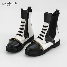 Plus Size 34-43 Women Casual Shoes Punk PU Leather Boots Lace Up Martin Boots Winter Fashion Ankle Boots Mixed Colors Motorcycle цены онлайн
